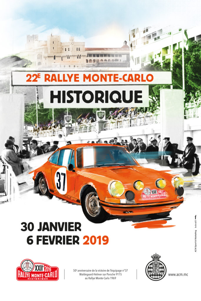 Poster for the 2019 Monte Carlo Historical Rally.