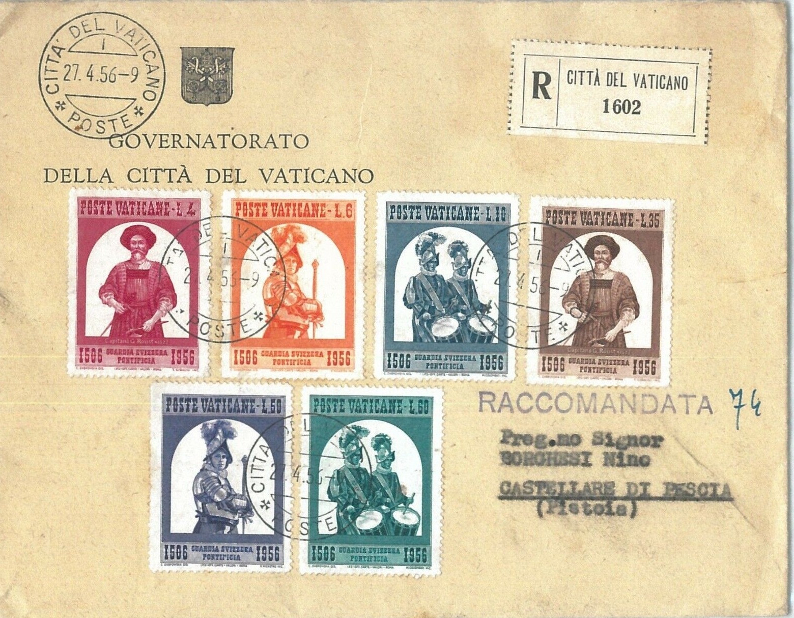Vatican City - Scott #203-208 (1956) first day cover