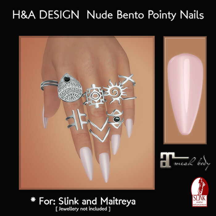 [H&A Designs] – Nude Bento Pointy Nails