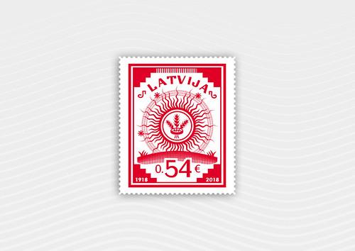 Pastmarka Latvijas Republikas pirmajai pastmarkai - 100