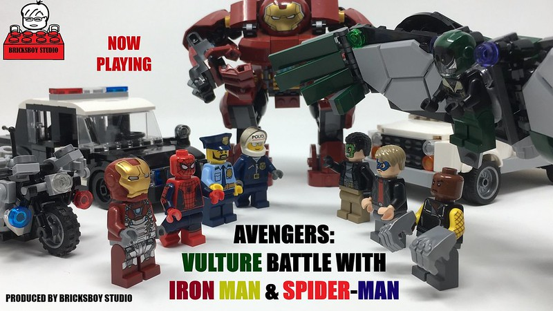 Avengers: Vulture Battle with Iron Man and Spider-man- Stop Motion Movie