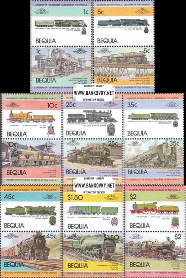 Známky Bequia 1984 Lokomotívy séria MNH