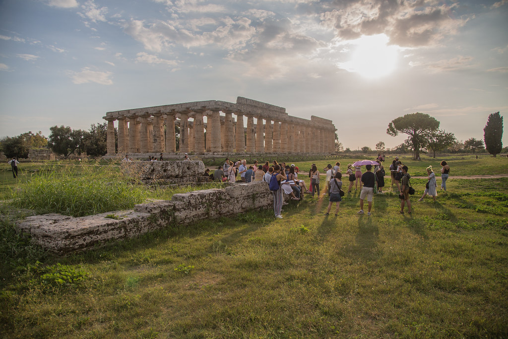 Visiting Critic Jan Gadeyne introduces Cornell in Rome students to greek architecture from antiquity in Southern Italy.  photo / Sahir Choudhary (B.Arch. '21)