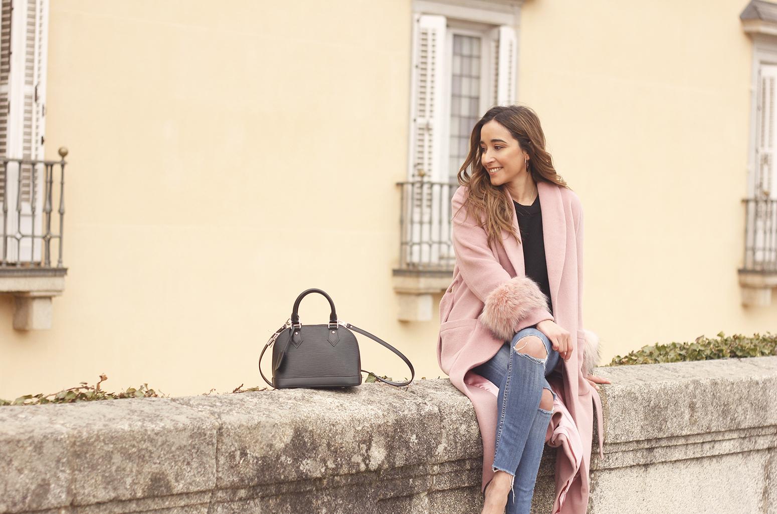 pink coat byleclair carolina herrera heels jeans louis vuitton ba street style outfit 201910