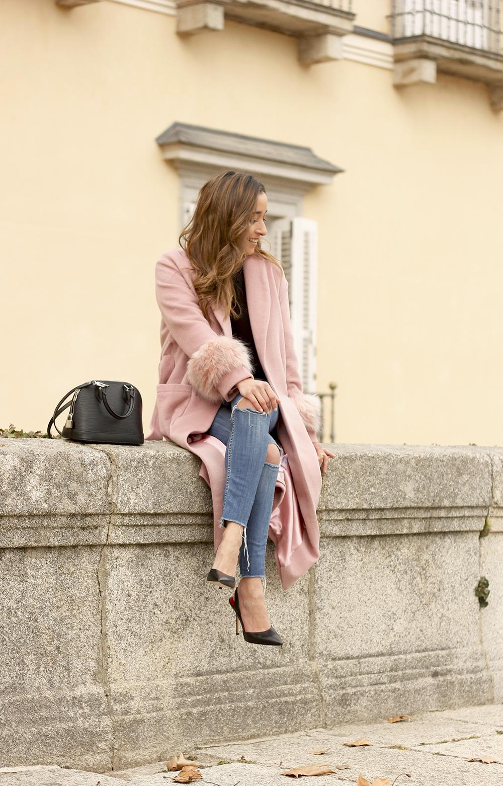 pink coat byleclair carolina herrera heels jeans louis vuitton ba street style outfit 20193