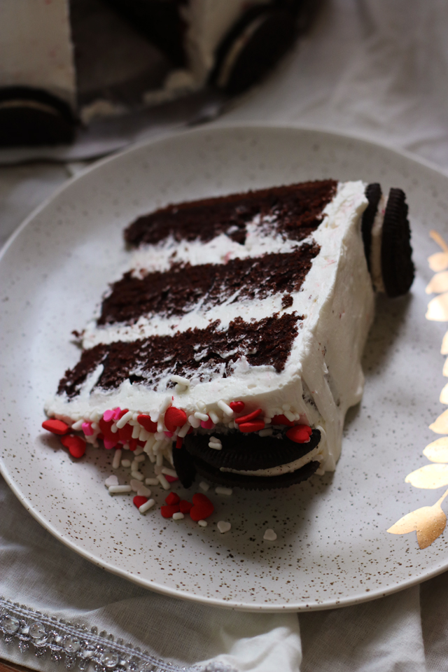 Chocolate and Candy Cane Crunch Layer Cake
