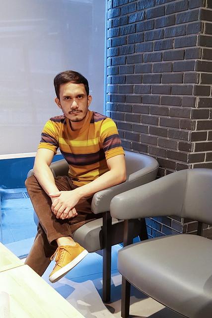halfwhiteboy - striped shirt and corduroy pants 01
