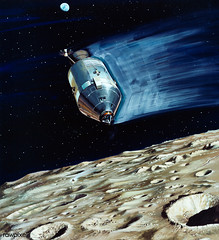 Rendered image of a small lunar subsatellite being ejected into lunar orbit from the Apollo 15 Service Module. Original from NASA. Digitally enhanced by rawpixel.