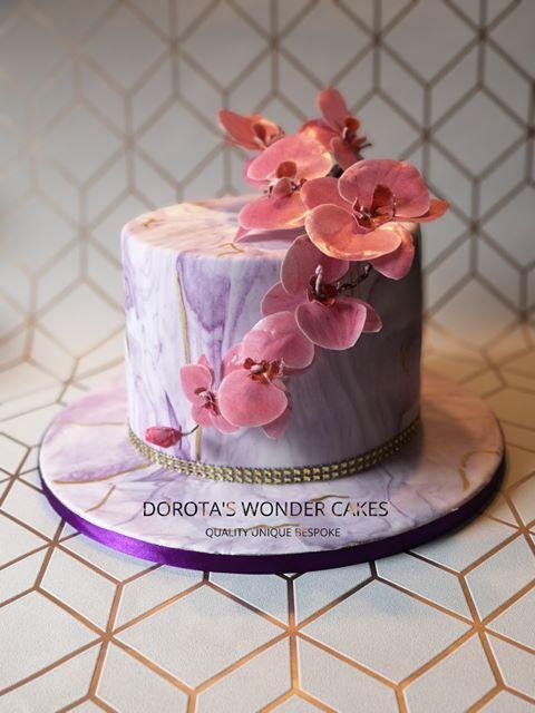 Dearest Orchids Marble Cake by Dorota Korepta Pietrzak of Dorota's Wonder Cakes