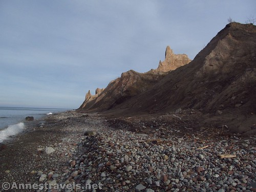 Walking the beach between Lake Ontario and Chimney Bluffs State Park, New York
