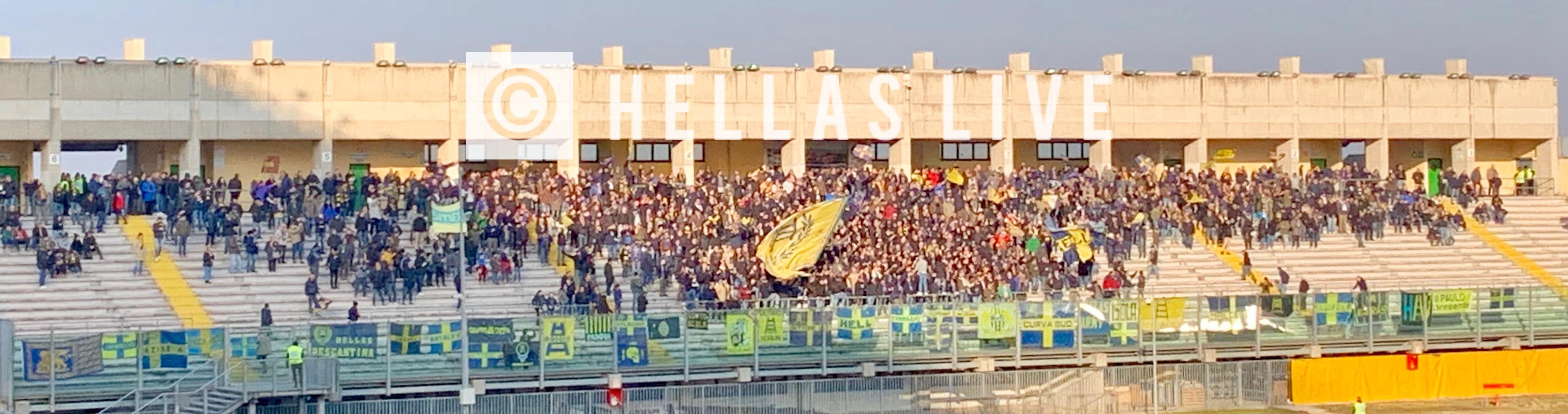 Padova-Hellas Verona, i 1430 tifosi gialloblù presenti ...