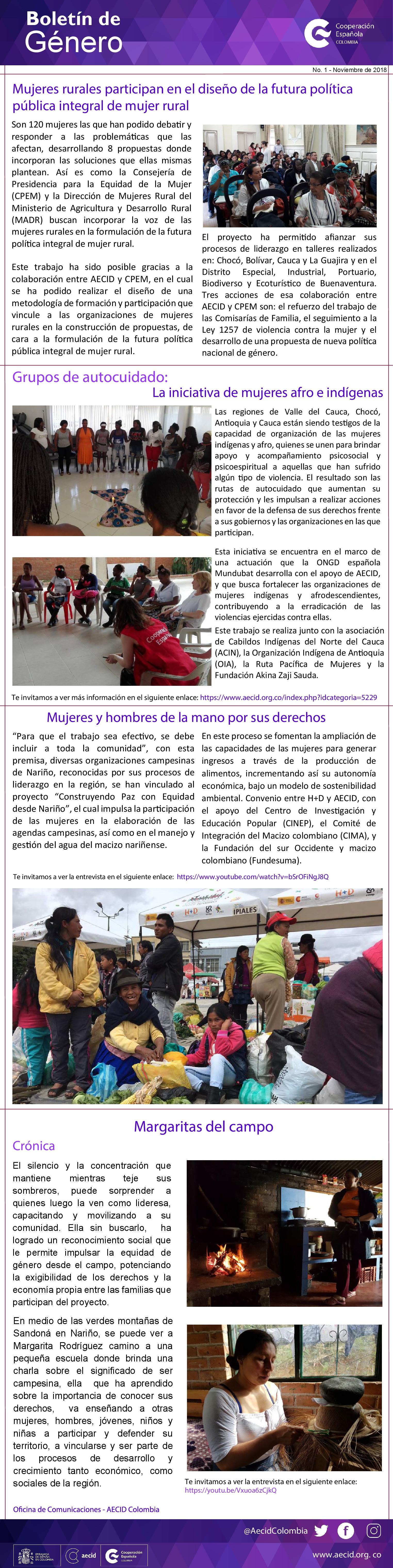 BOLETIN DE GENERO NOVIEMBRE 2018  AECID COLOMBIA-001