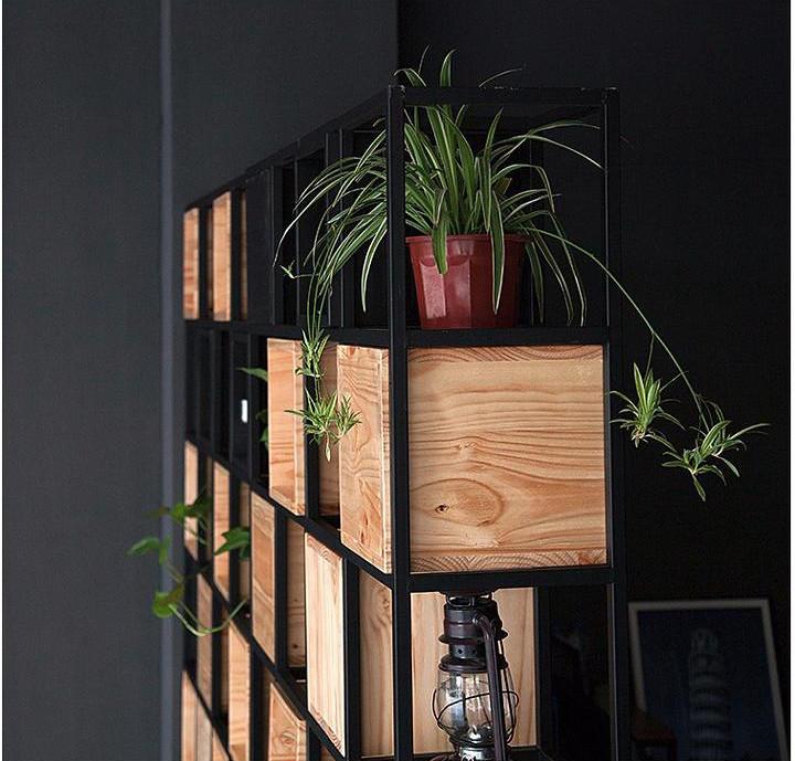 Mẫu kệ trang trí khung sắt 7 tầng có hộc gỗ GHZ-317 trồng hoa tuyệt đẹp
