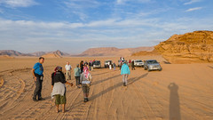 Tourists in the Wadi Rum desert