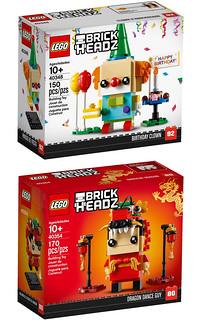 LEGO 40348、40349、40354 BrickHeadz 系列【生日小丑、小狗狗、舞龍人】Birthday Clown、Puppy、Dragon Dance Guy