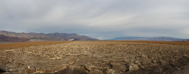 Panorama shot looking north over the salty crust on the floor of Death Valley from the West Side Road