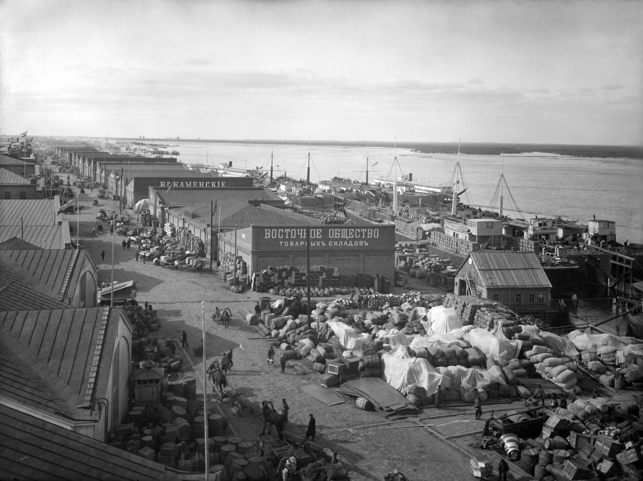 Вид сибирских пристаней и складов