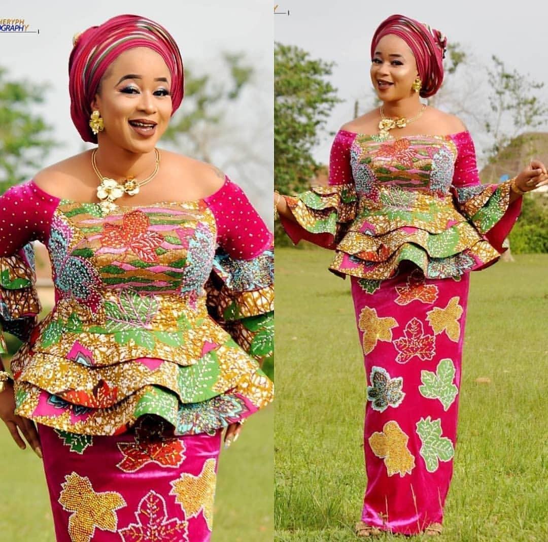 Latest Ankara Skirt And Blouse Styles For Wedding 2020 1