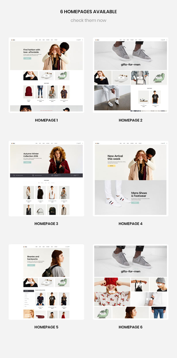 6+ premade homepages for Fashion and Accessories store