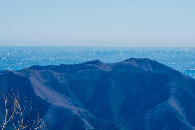生籐山・連行峰の先にスカイツリー@権現山