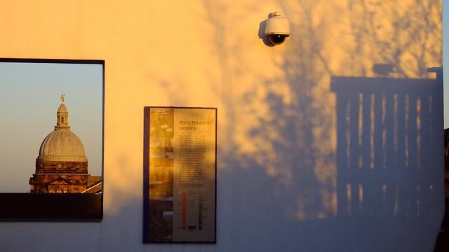 Sunset framed and shadowed