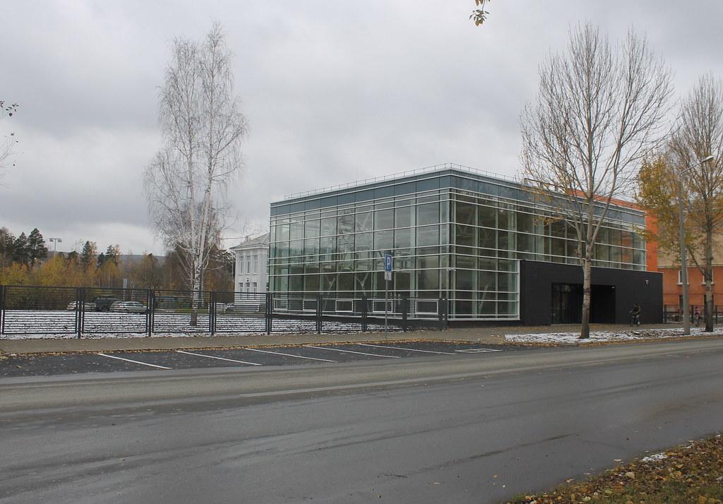 Выставочный центр и его забор.