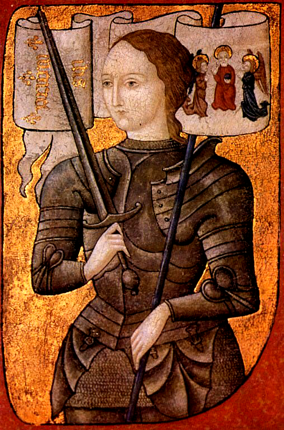 Joan of Arc oil on parchment miniature painted between 1450 and 1500. In the collection of Centre Historique des Archives Nationales, Paris, AE II 2490.