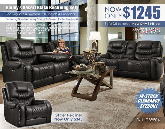 Baileys Desert Black Reclining Sofa & Loveseat Set_88804_stamp