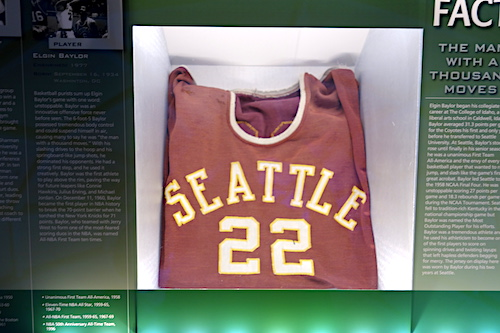 Elgin Baylor's Seattle jersey. From Nothing But Net: The Naismith Basketball Memorial Hall of Fame Is a Sweet Three-Pointer