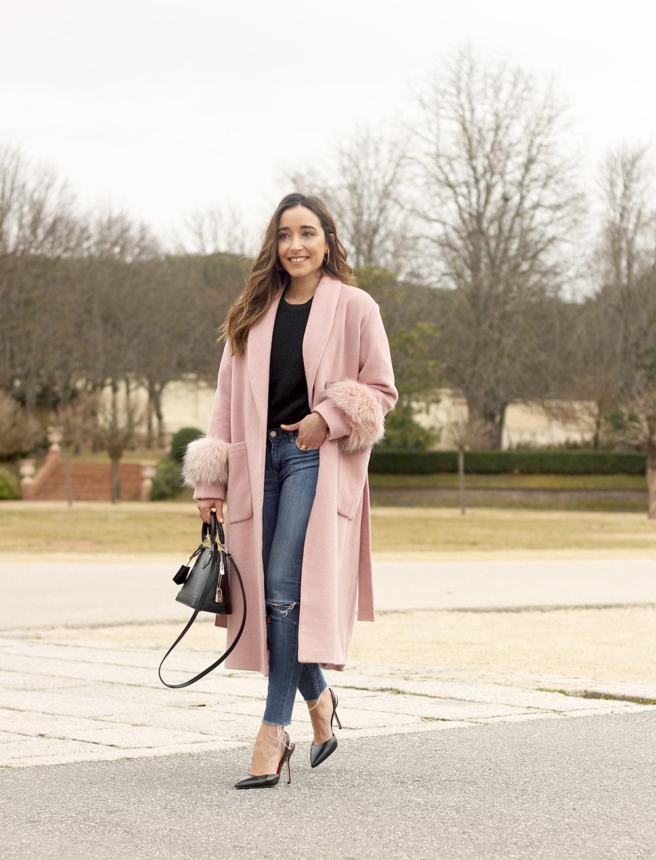 pink coat byleclair carolina herrera heels jeans louis vuitton ba street style outfit 20195