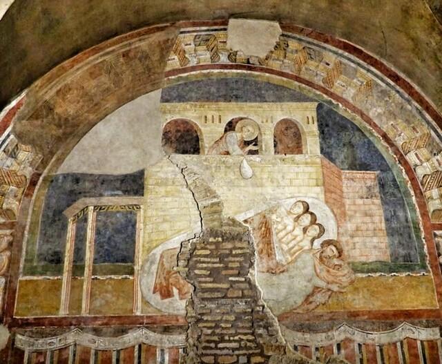 Pyhää Nikolausta esittävä fresko 1200-luvulta