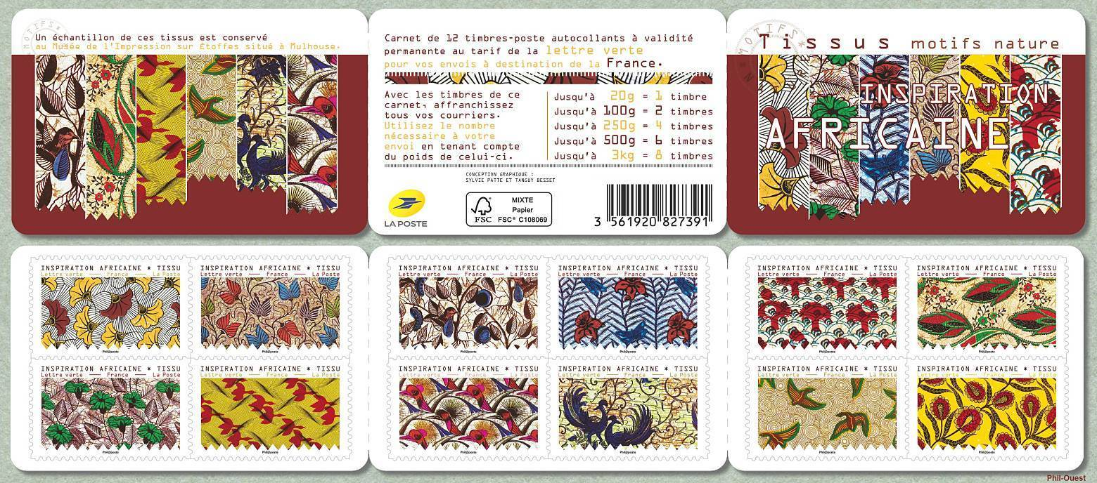 France - African Inspiration: Fabric (January 6, 2019) booklet of 12