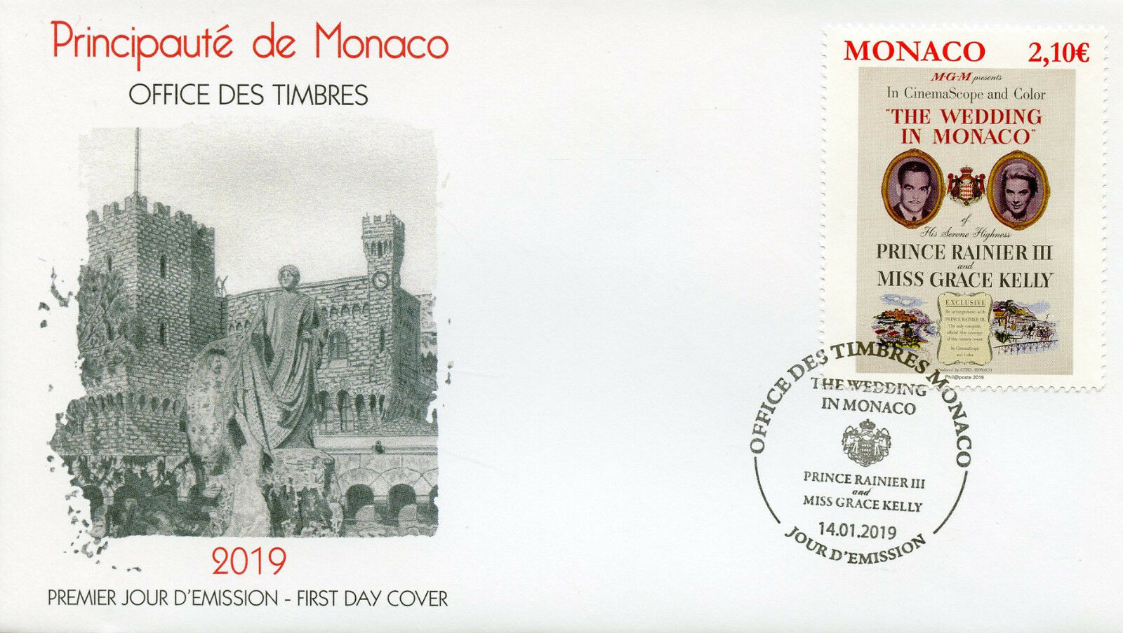Monaco - Grace Kelly Movies: The Wedding in Monaco (January 14, 2019) first day cover