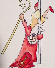 I haven't been drawing lately (hopefully I can get back to a place where I'll have the energy to do so again soon), so here's a throwback to last year, when I drew a pole dancing Sinterklaas for a friend. #illustration #artstagram #sinterklaas #poledancin
