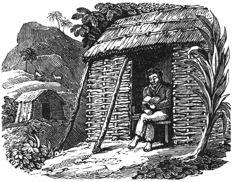 Selkirk reading his Bible in one of two huts he built on a mountainside. From The Life and adventures of Alexander Selkirk, the real Robinson Crusoe: a narrative founded on facts (1837).