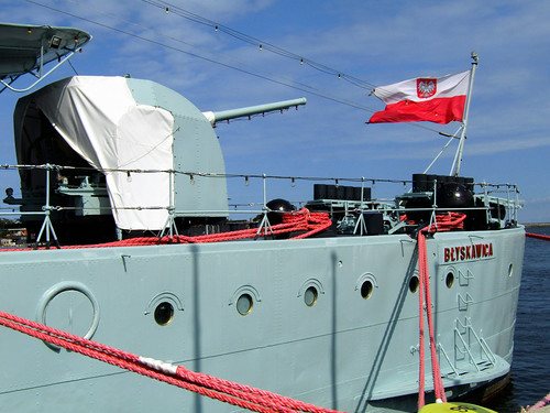 Polish flag on the ORP Błyskawica, battleship in Gdynia