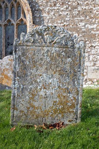 James & Elizabeth Hawkins headstone 1767, Litton Cheney