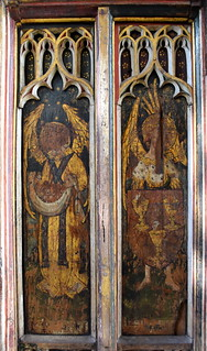 north aisle screen: angels bearing souls and a shield of the eucharist (15th Century)