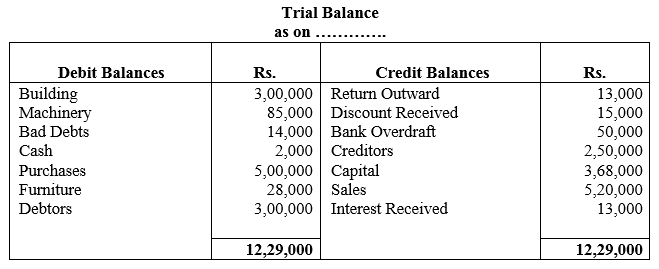 TS Grewal Accountancy Class 11 Solutions Chapter 10 Trial Balance Q10