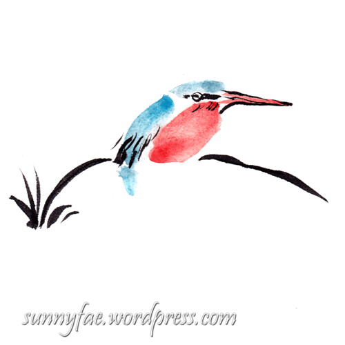 ink painted kingfisher