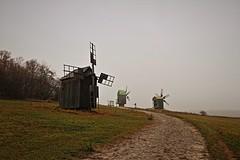 Windmills in Pyrohiv, Ukraine