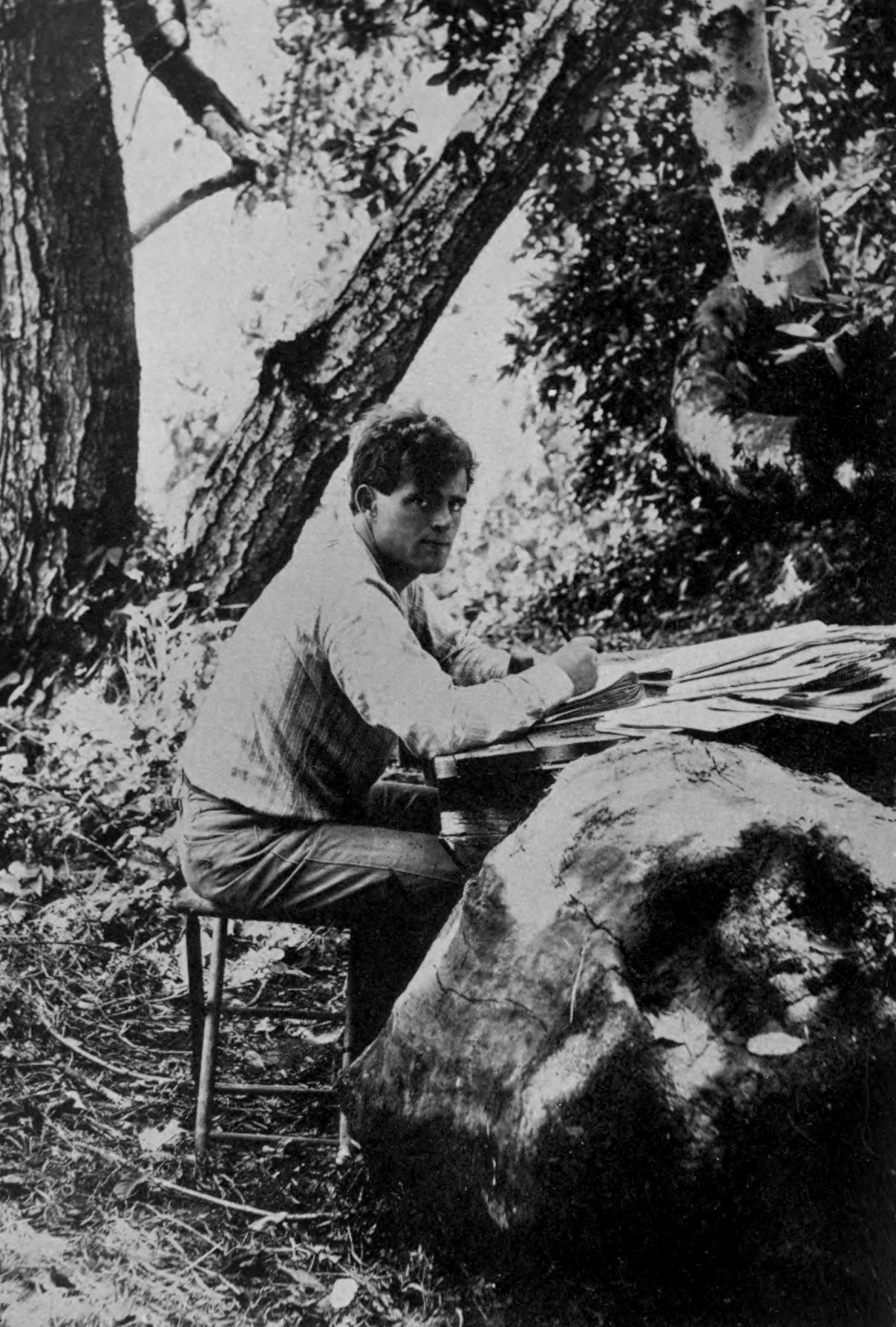 Jack London writing, 1905. First published in The Book of Jack London by Charmian London, Century Company, NY, 1921.