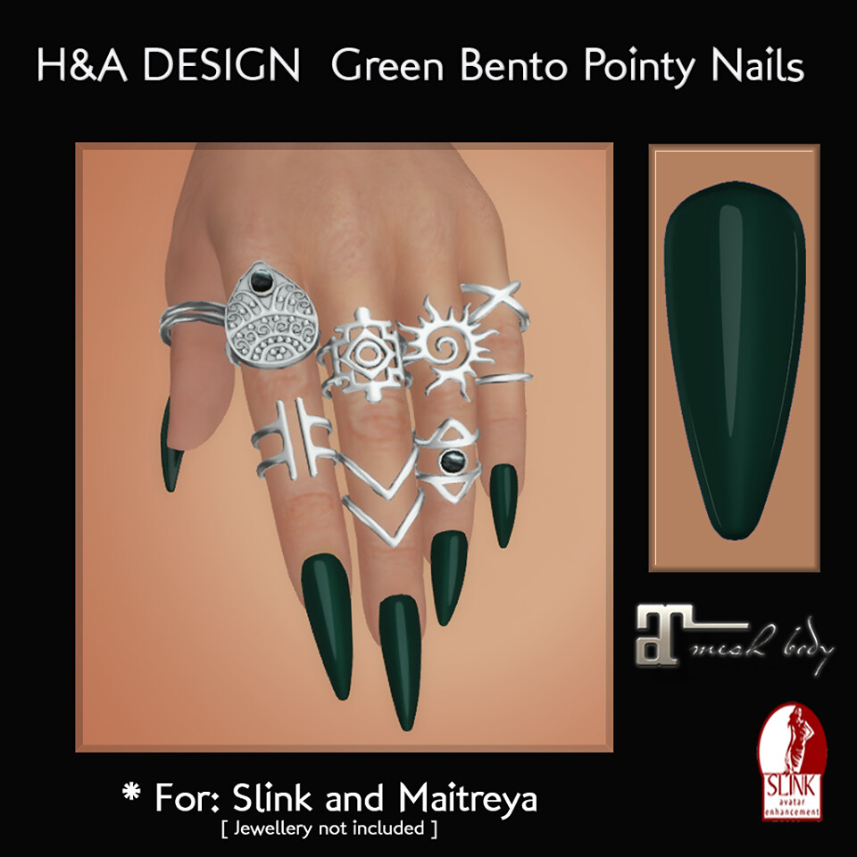 [H&A Designs] - Green Bento Pointy Nails - TeleportHub.com Live!