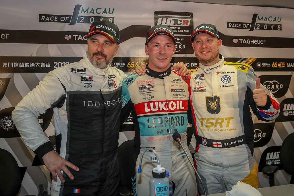 MULLER Yvan, (fra), Hyundai i30 N TCR team Yvan Muller Racing, portrait, VERNAY Jean-Karl, (fra), Audi RS3 LMS TCR team Audi Sport Leopard Lukoil, portrait, HUFF Rob, (gbr), Volkswagen Golf GTI TCR team Sebastien Loeb Racing, portrait during the 2018 FIA WTCR World Touring Car cup of Macau, Circuito da Guia, from november  15 to 18 - Photo Alexandre Guillaumot / DPPI