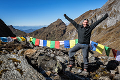 Happy trekker at Tempe La pass - Wangdue Phodrang district - Snowman Trek - Bhutan