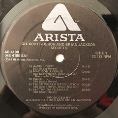 GIL SCOTT-HERON AND BRIAN JACKSON:SECRETS(LABEL SIDE-A)