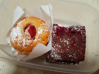 Strawberry Muffin and Raspberry Brownie at Ginger and Rose