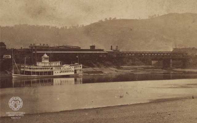 Packet Rebecca in front of the Original Wheeling B&O Terminal Freight and Passenger Depot, circa late 1860s