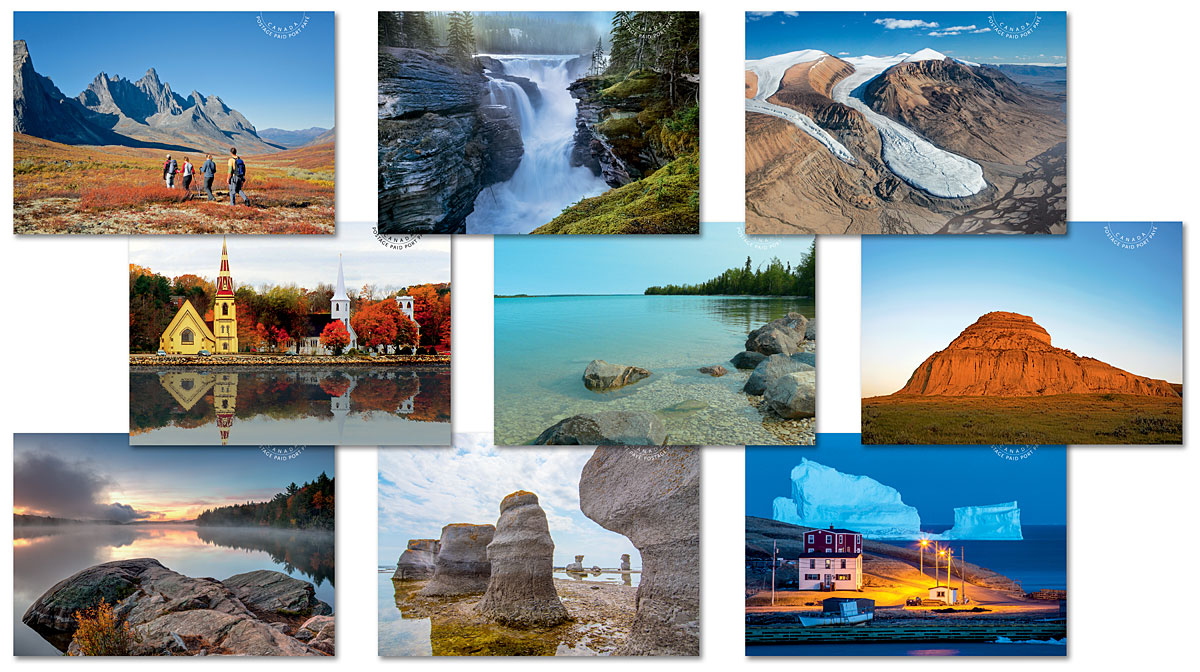 Canada - Far and Wide (January 14, 2019) postage-paid postcards, 9 designs