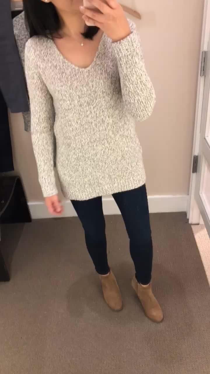 LOFT Marled V-Neck Sweater, XS regular